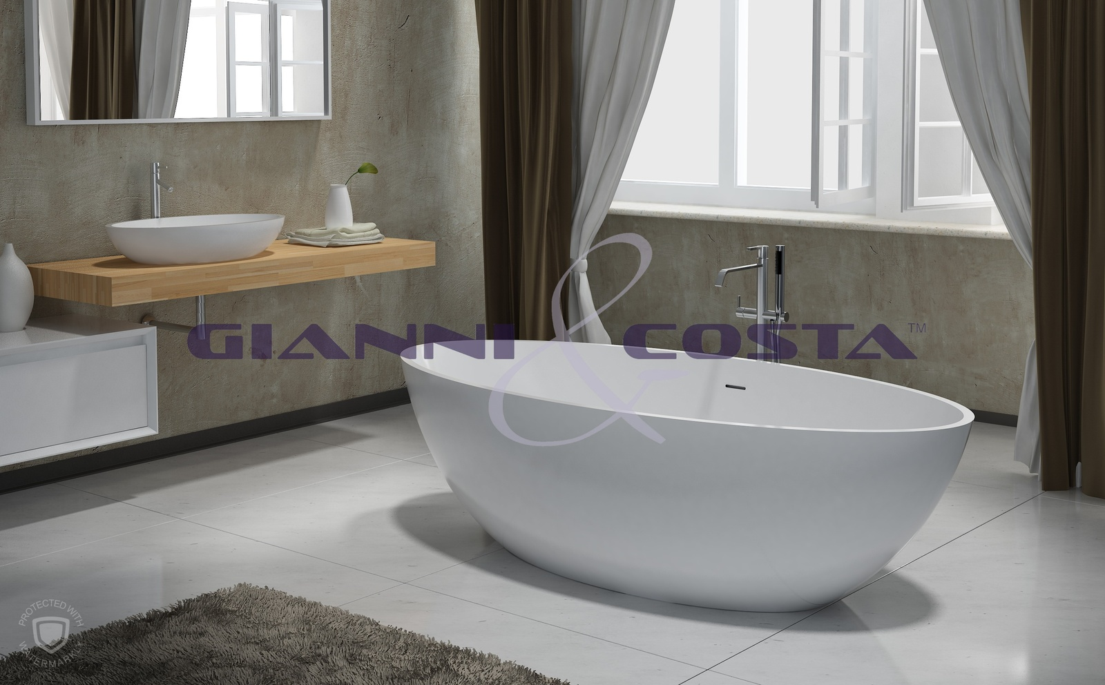 Solid Surface Free Standing Bath Tub - Matt White - Model Isola GC1057 1800mm