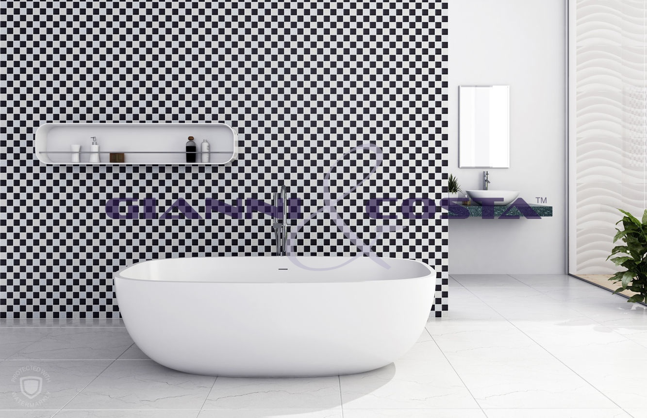 Solid Surface Free Standing Bath Tub - Matt White - Model Lucca GC6581 1700mm