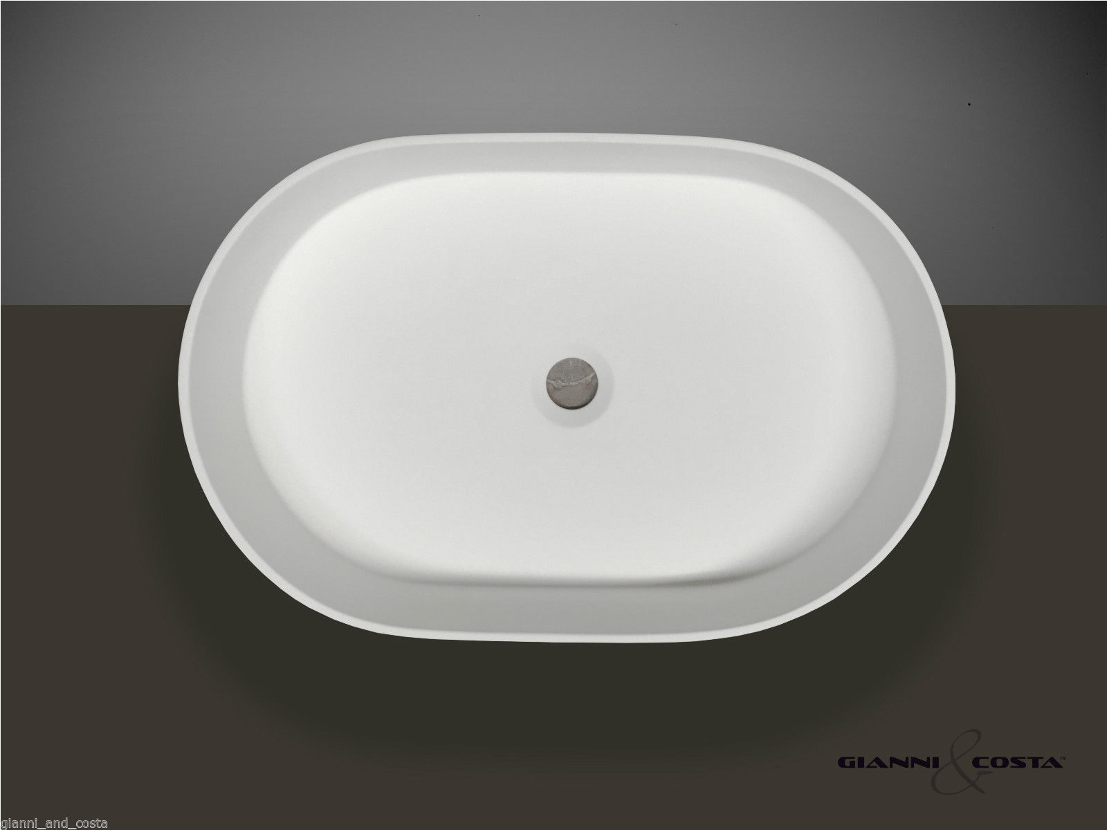 "Oval Above Counter Top Basin ""Stone"" Solid Surface Matt Finish Black"