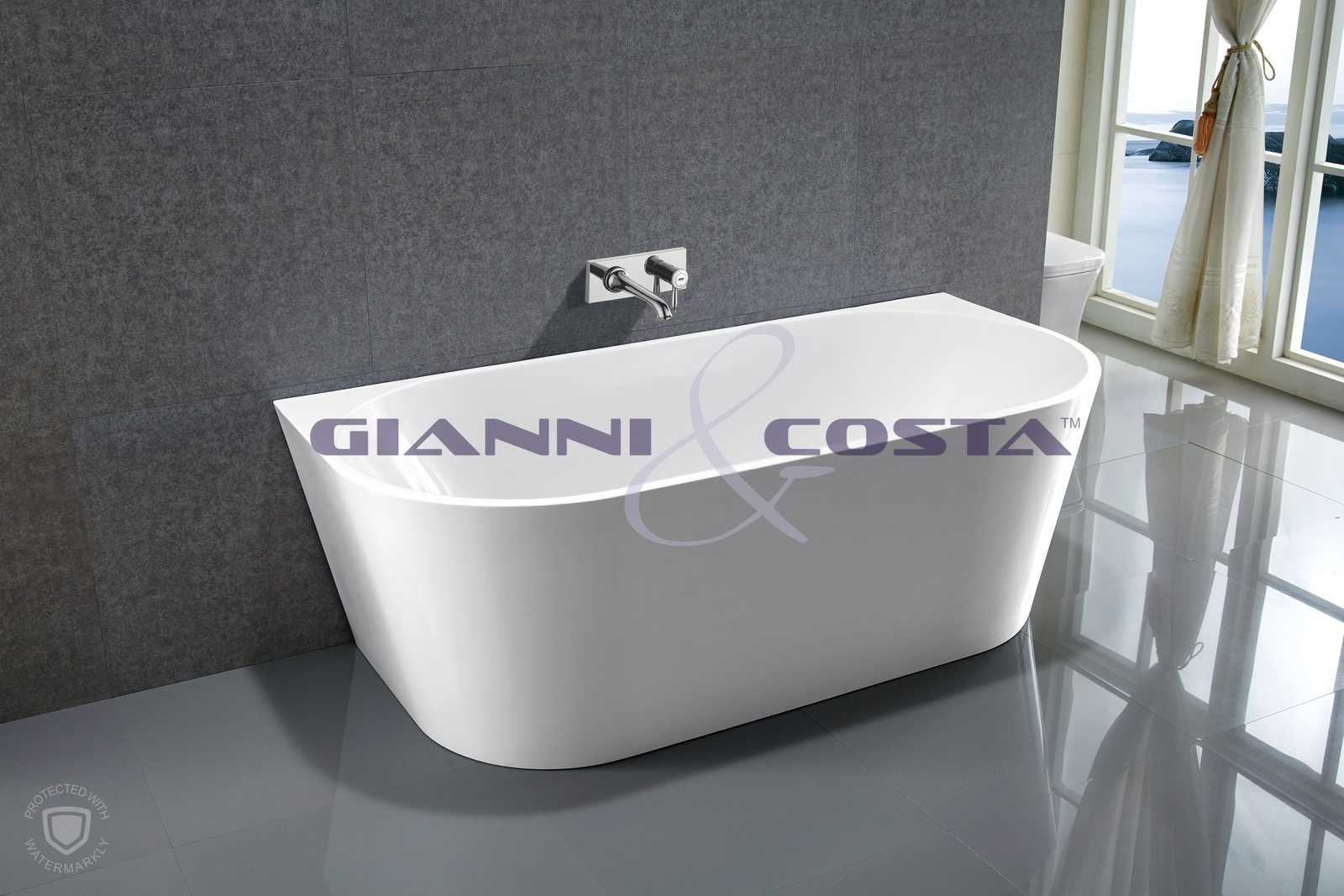 Acrylic Back To Wall Free Standing Bath Tub Model Kiklo BTW GC6815B 1500mm