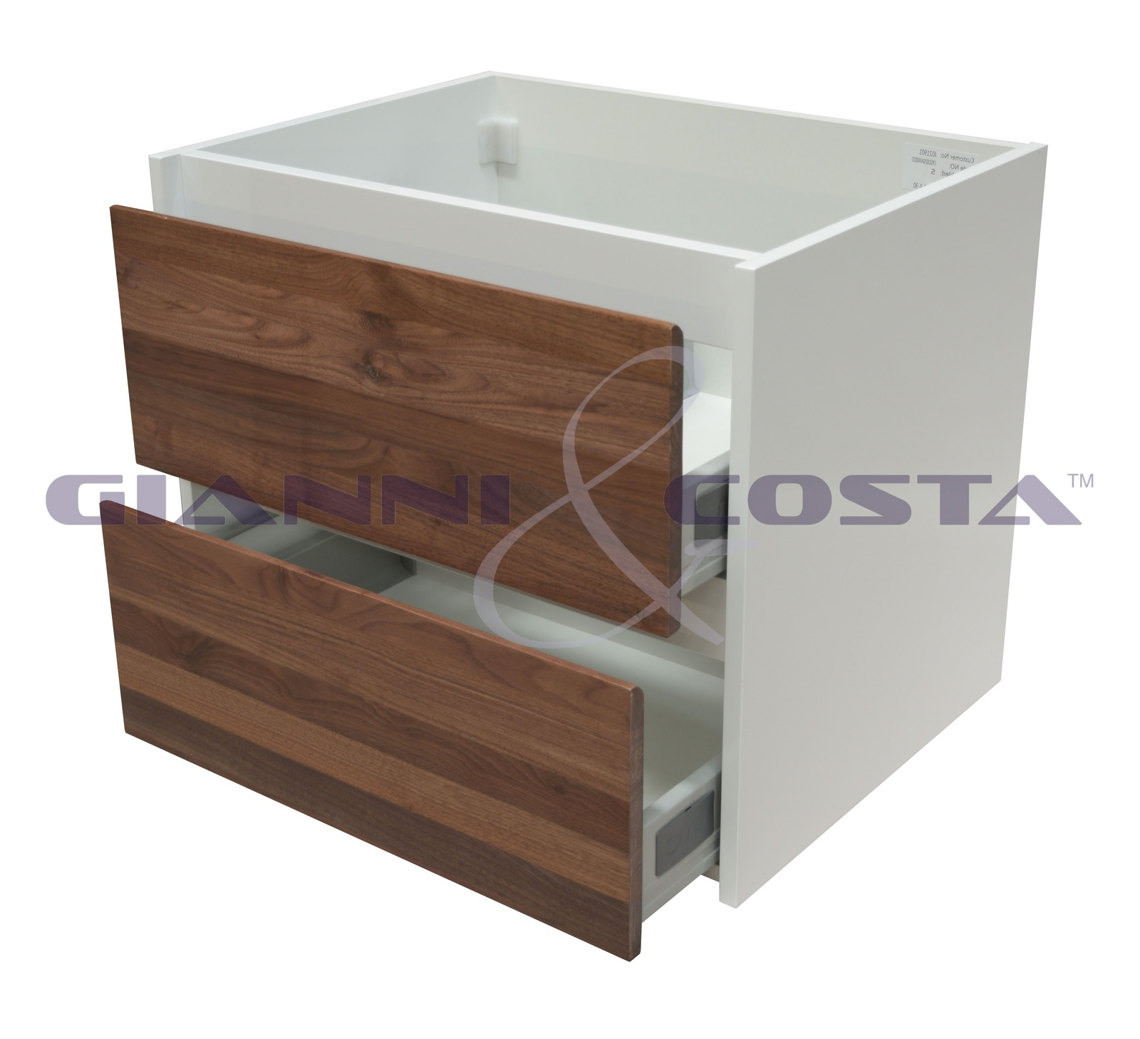Gloss White Wall Hung Bathroom Cabinet Model Sia 590mm - Walnut Timber