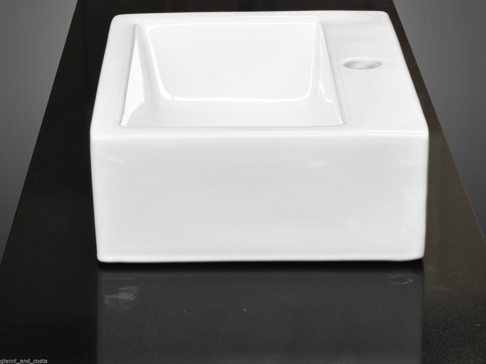 CERAMIC RECTANGULAR ABOVE COUNTER TOP OR WALL HUNG BASINPOP-UP WASTE