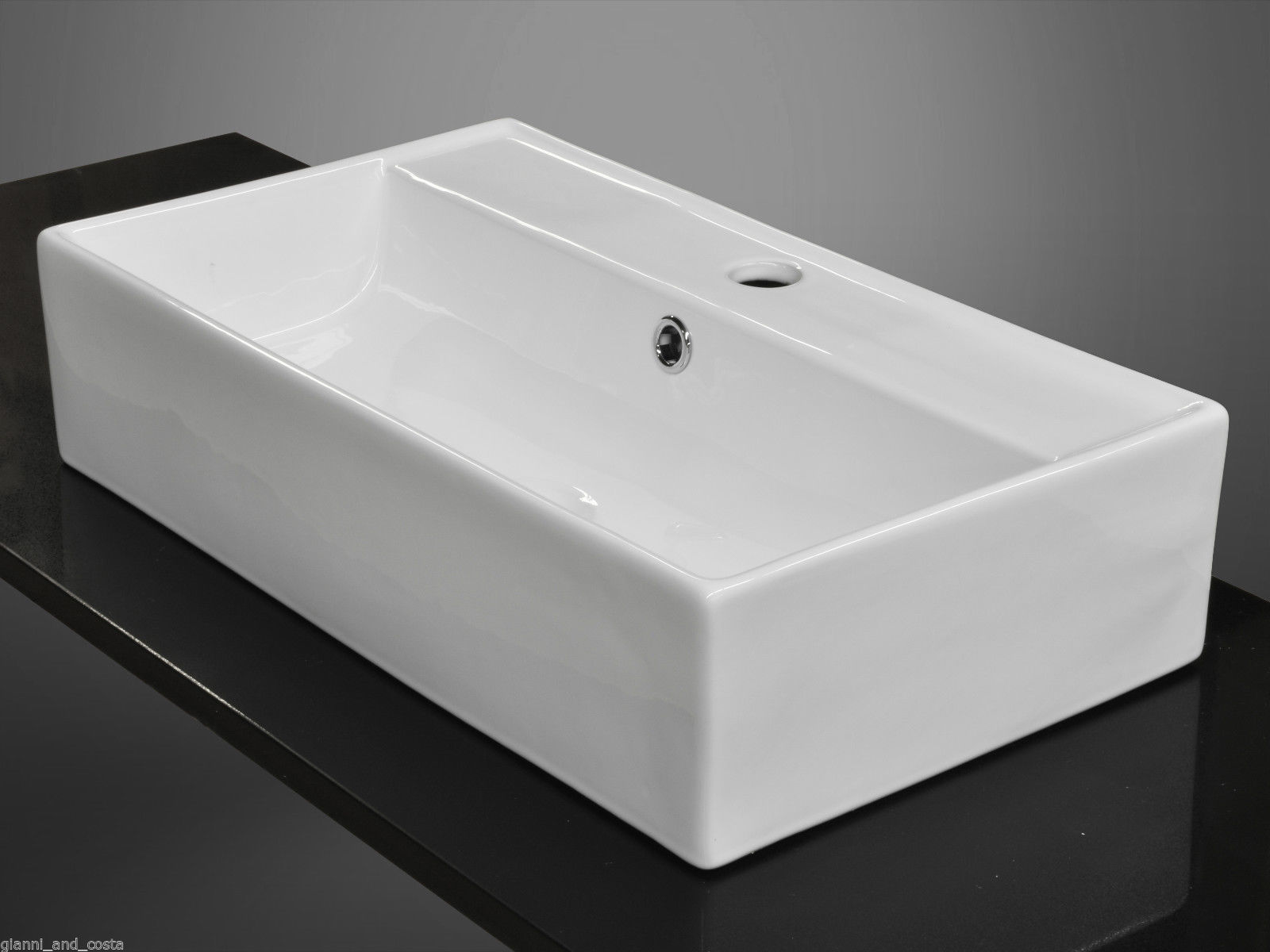 CERAMIC RECTANGULAR ABOVE COUNTER TOP BASIN INCLUDES POP-UP WASTE