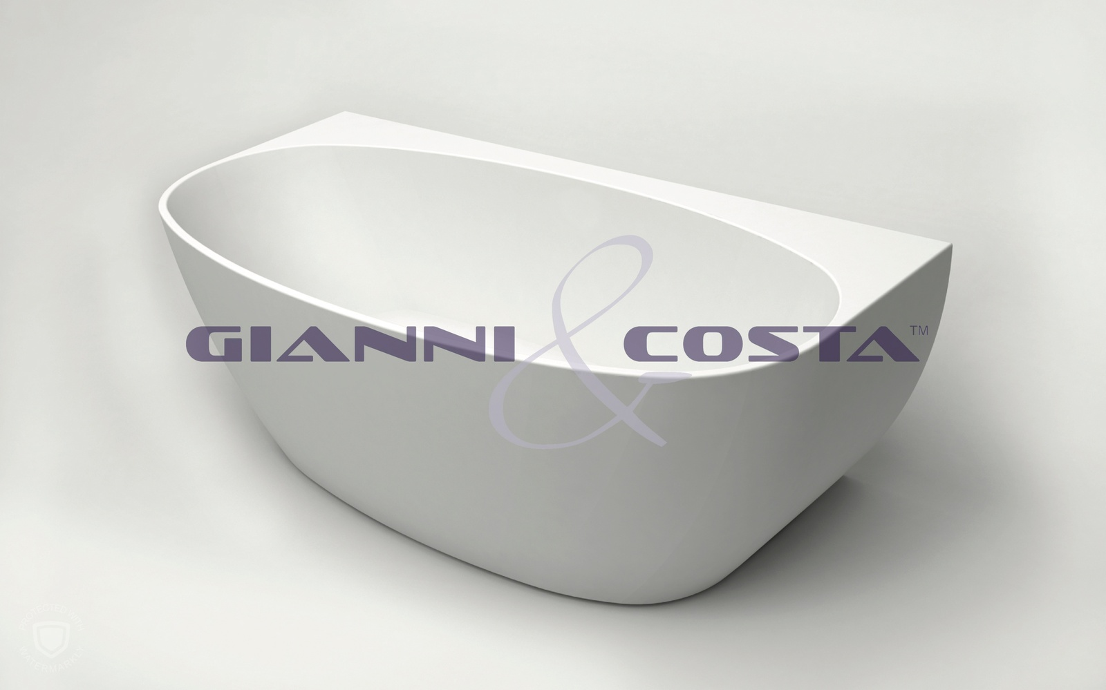 Acrylic Back To Wall Free Standing Bath Tub Model Carrara GC1065W 1500mm