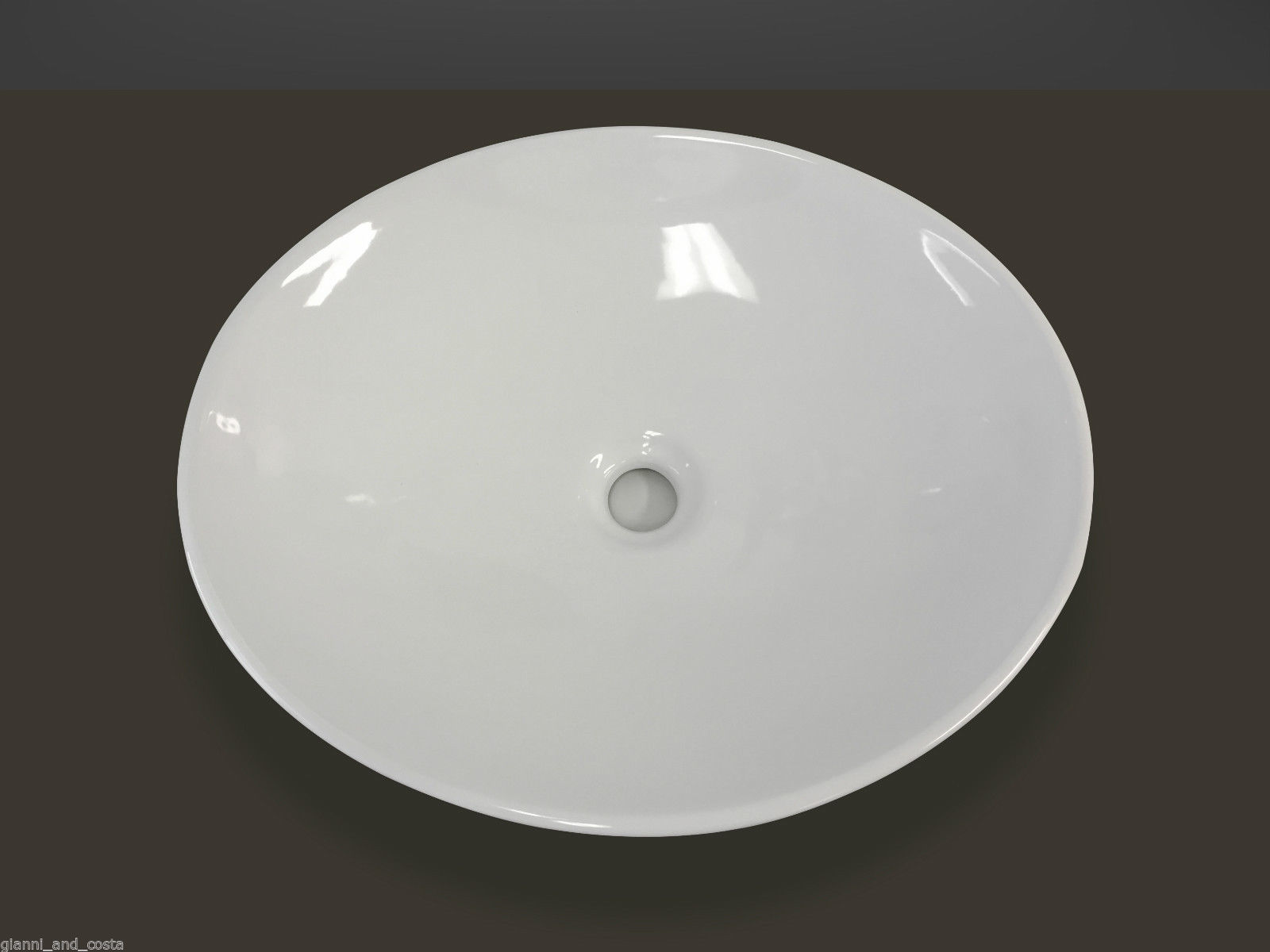 CERAMIC OVAL ABOVE COUNTER TOP BASIN FOR VANITY INCLUDES POP - UP WASTE