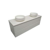 Gloss White Wall Hung Vanity SIA + Stone Benchtop + Stone Basin / 6 Sizes Available