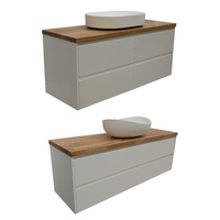 Matt White Wall Hung Bathroom Vanity SIA + Timber Benchtop + Stone Basin / 4 Sizes Available