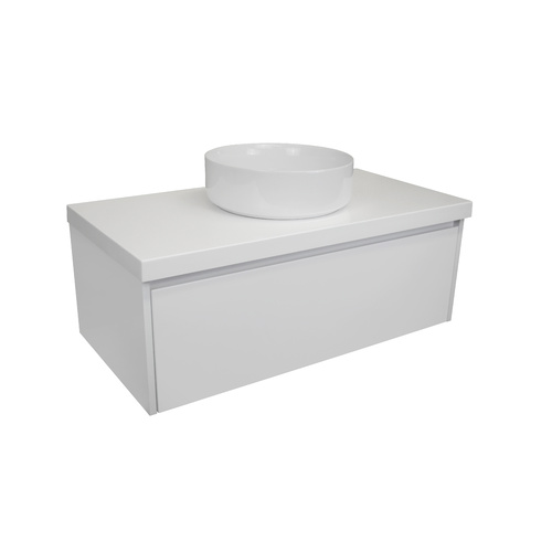 Gloss White Wall Hung Bathroom Vanity Model Sia Slim 1190mm + Alpine White Caesarstone Benchtop + Ceramic Basin + Black Pop-up Waste