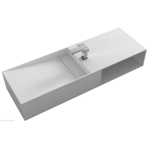 BATHROOM 1200MM WALL HUNG BASIN VANITY - STONE - SOLID SURFACE
